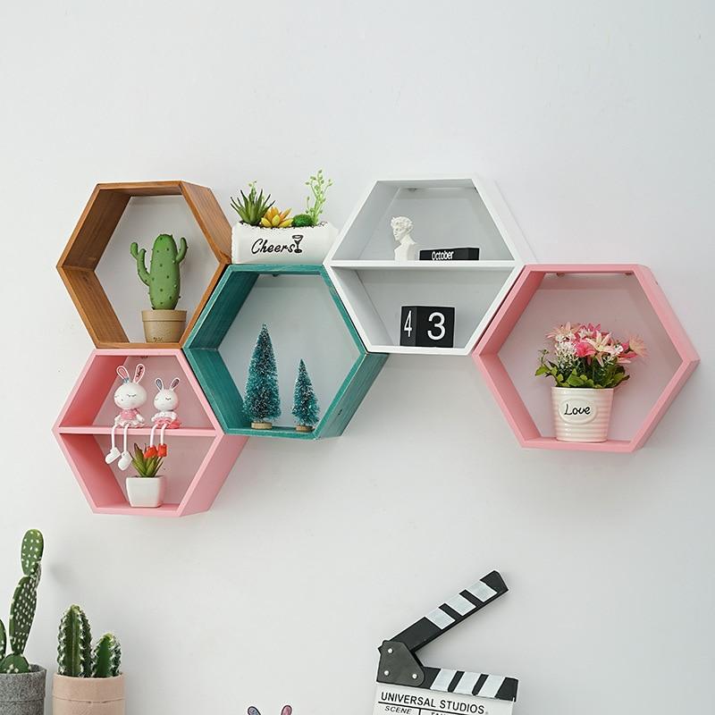 Nordic Style Wooden Decor Wall Mount Hexagonal Frame Books Toys Flower Pot Storage Shelf Holder Figurines Display Crafts Shelves