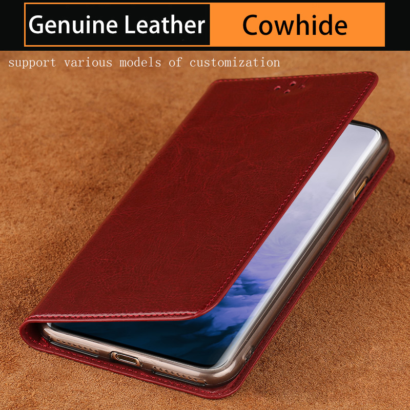 Genuine leather Phone Case For Oneplus 7 7T 6 6T Pro <font><b>5</b></font> 5T <font><b>3</b></font> 3T Case For oneplus 7TPRO 7PRO Cowhide Oil wax skin Cover image