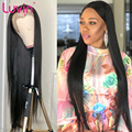 Luvin Hair Straight 250 density 13x6 Glueless 20-34 28 inch Long Glueless Lace Front Human Hair Wig Brazilian Frontal Wig