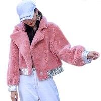 Real Sheep Shearling Fur Coat Short Style Female Wool Coat Autumn Winter Jacket Natural Sheep Fur Women Clothes