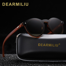 DEARMILIU DESIGN 2019 Natural Handmade Wood Sunglasses Men Sun Glasses Women Brand Design Original Rosewood Round Glasses Oculo