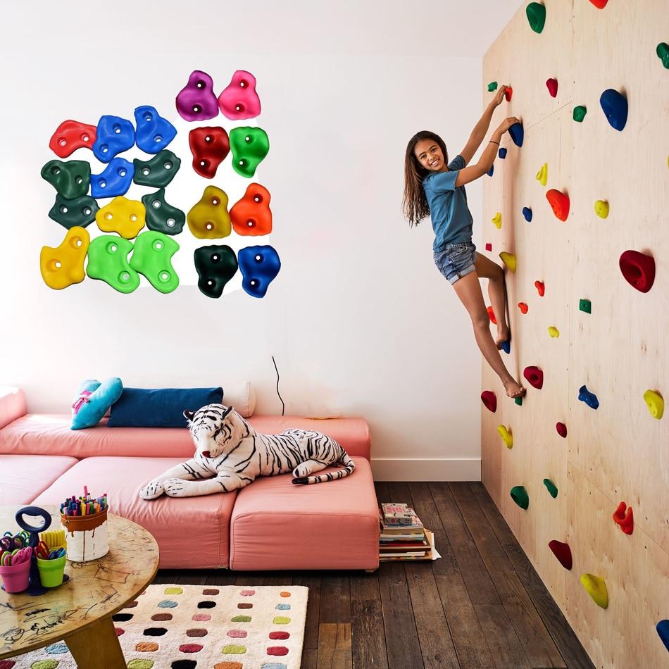 10 Pcs/lot Kids Rock Climbing Toys For Children Plastic Indoor Outdoor Climbing Rock Wood Wall Stones Hand Feet Holds Grip Kits