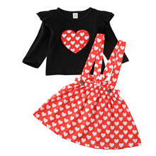 От 6 месяцев до 5 лет Повседневная футболка с длинными рукавами и принтом сердца для маленьких девочек юбки на подтяжках Одежда для девочек комплект из 2 предметов