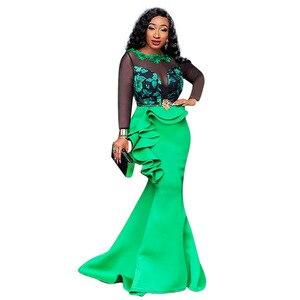 Image 5 - Robes africaines pour femmes dames longue fête robe de sirène Sexy maille transparente volants soirée moulante Maxi robe trompette