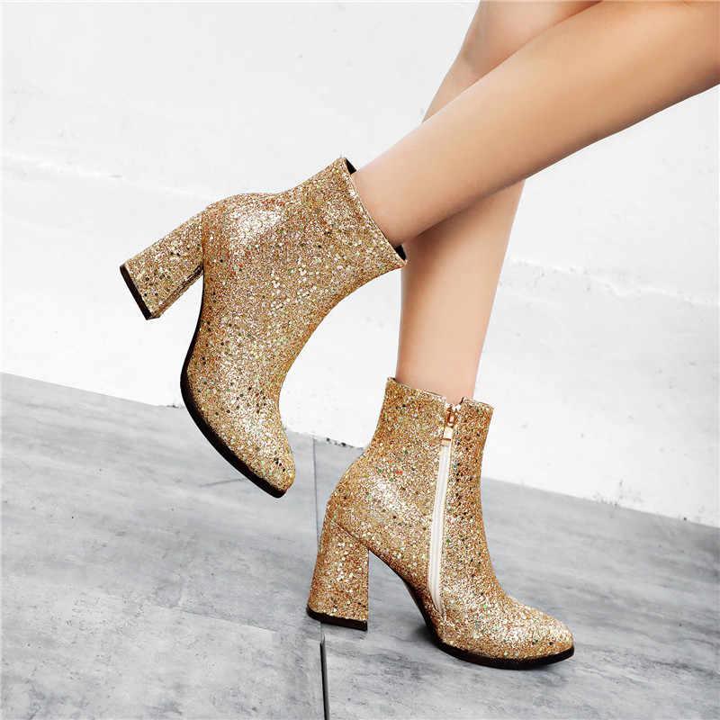 Seksi pullu çizmeler kadın ayakkabıları Kadın Yüksek Topuklu Sivri Burun yarım çizmeler Bayanlar Fermuar Parlayan deri ayakkabı Bota Feminina 2019