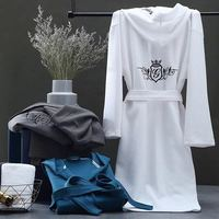 Waffle Cotton Bathrobe Hooded Waffle Robe Men Women Thin Cotton Bathrobe Embroidery Homewear Sleeping Dress Men Dressing Gown