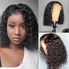 Onda de água peruca de cabelo humano curto perucas para mulheres peruano cabelo humano perucas alianna cabelo bob 13x4 perucas da parte dianteira do laço para mulher