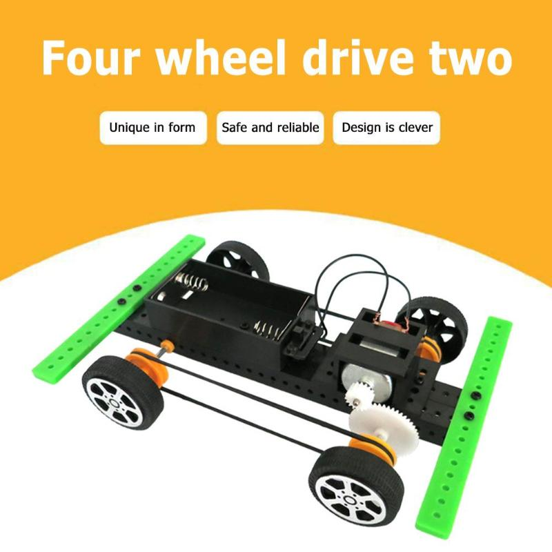 Four-wheel Drive Car Materials Creative DIY Science Experiment Model Kit Assemble Projects Teaching Educational Equipment