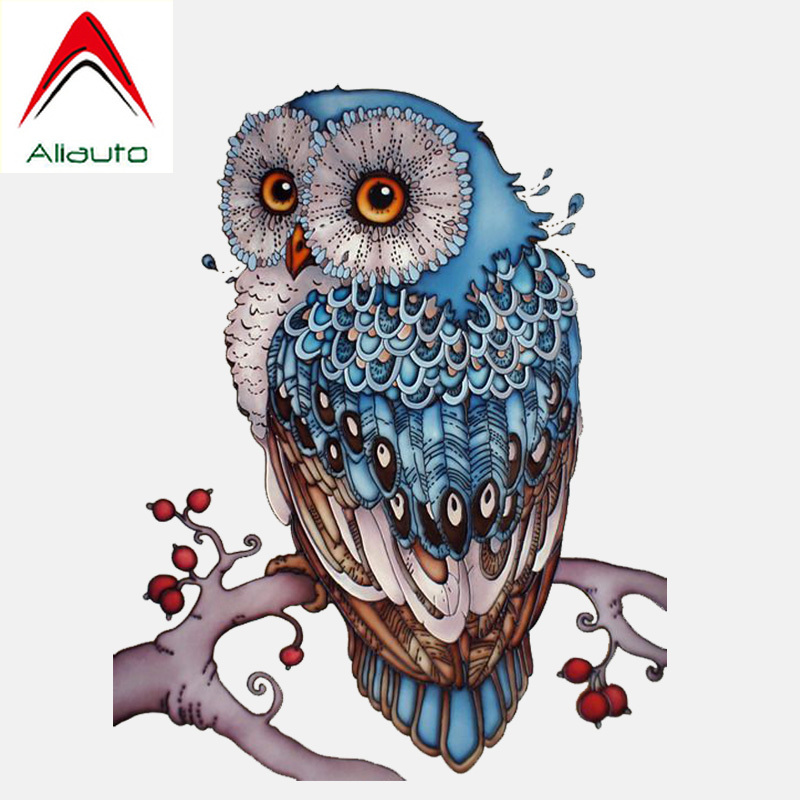 Aliauto Funny Car Sticker Lovely Hand-painted Blue Owl PVC Decal <font><b>Accessories</b></font> for Chevrolet Aveo <font><b>Smart</b></font> <font><b>Fortwo</b></font> <font><b>451</b></font> Bmw ,12CM*16CM image