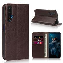 Étui portefeuille à rabat en cuir véritable naturel pour Huawei, pour Honor 20S 20 Lite Pro S 20Pro 64/128/256 go