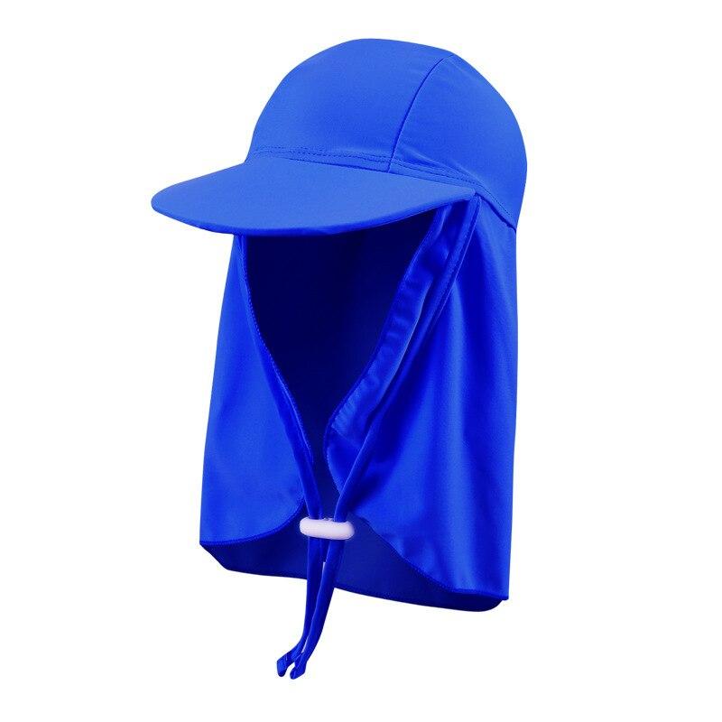 Children Sun Protection Hat Pure Color Swimming Cap Men And Women Children Swimming Cap Neck Guard Beach Hat Lengthen Mantle Lar