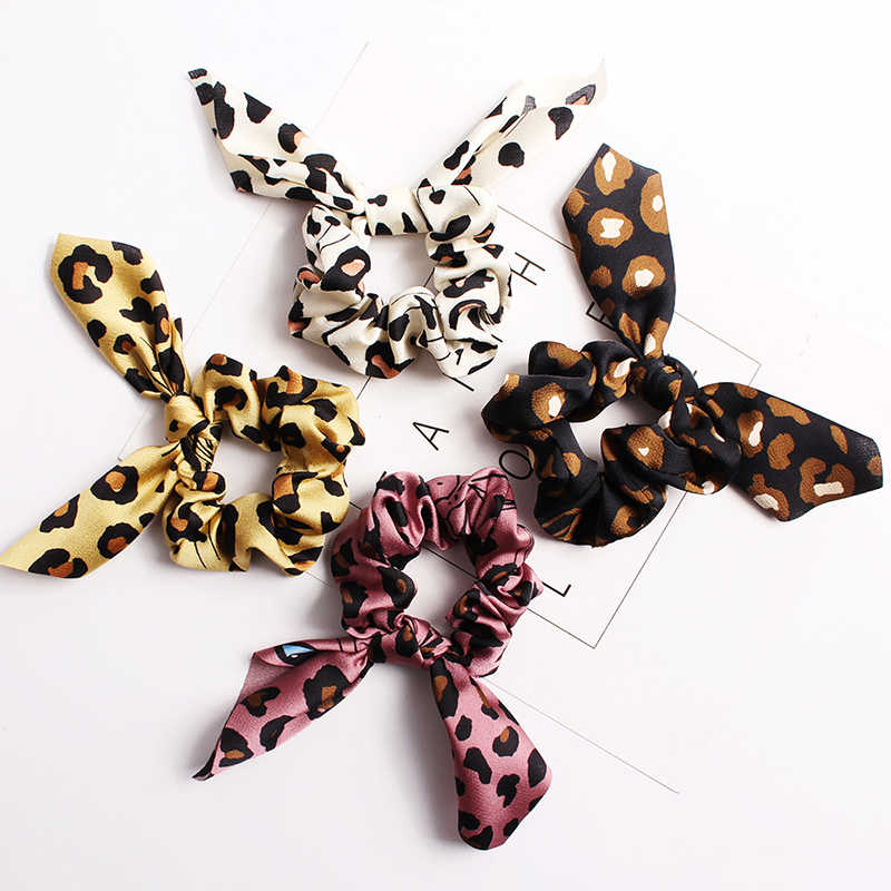 Retro Leopard Hairband Printed Rabbit Ears Bowknot Scrunchies Headband with Pearl Ponytail Hair Ties Rope Hair accessories Girls