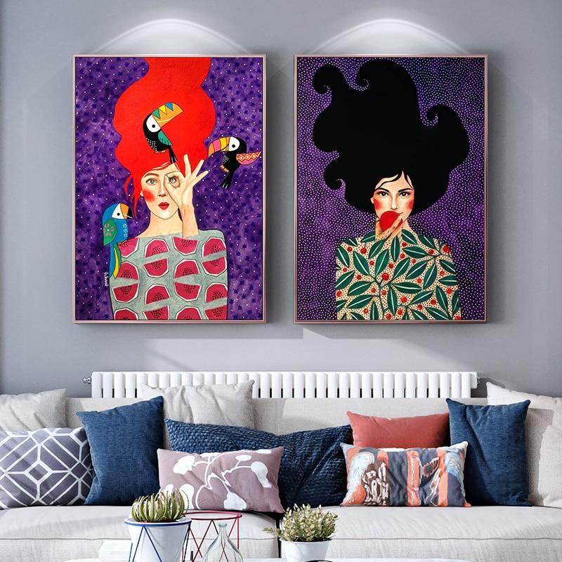 Современный абстрактный постер, модная девушка, холст, живопись, птица, цветок, плакаты и принты, настенные картины для гостиной, настенное искусство, Декор