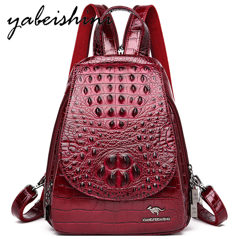 Women Leather Backpack For Girls Ladies' Crocodile Skin Pattern Backpack Mochila Feminina Travel Backpack Sac A Dos Shoulder Bag