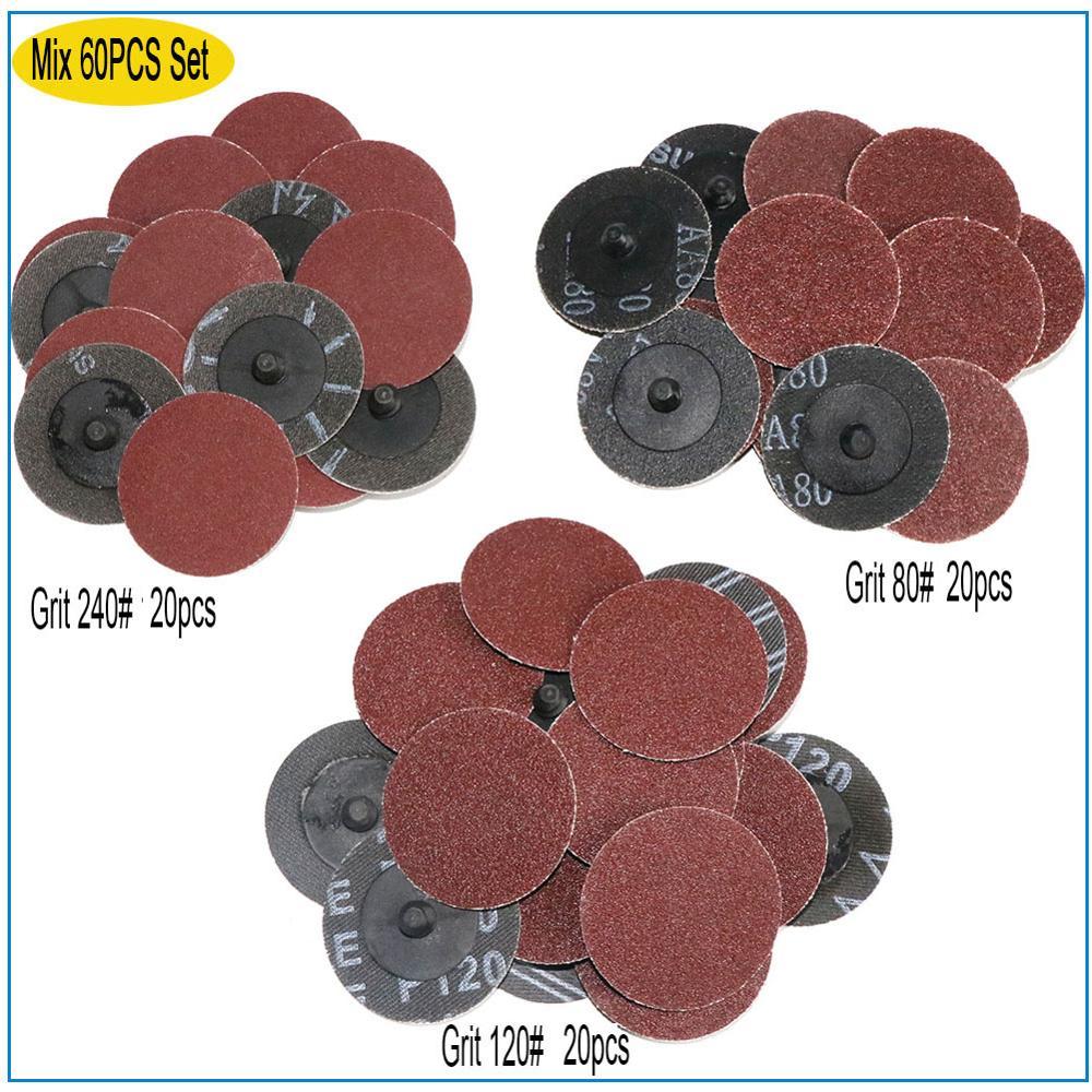40pcs 2/'/' 50mm 40//80//120//240 Grit Type R Roloc Sanding Discs Abrasive Roll Lock