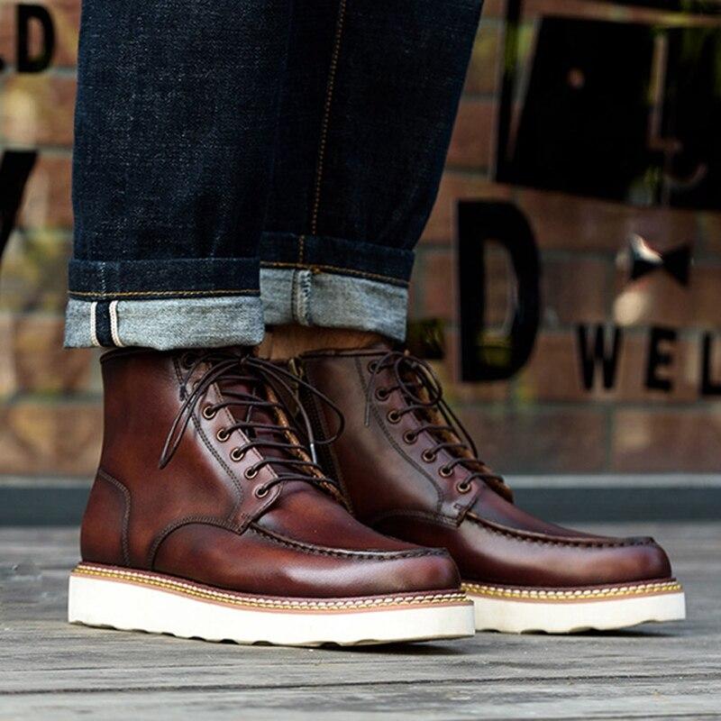 Новинка; модная мужская удобная обувь на шнурках ручной работы из натуральной кожи с круглым носком; мужская обувь на плоской платформе; бот...