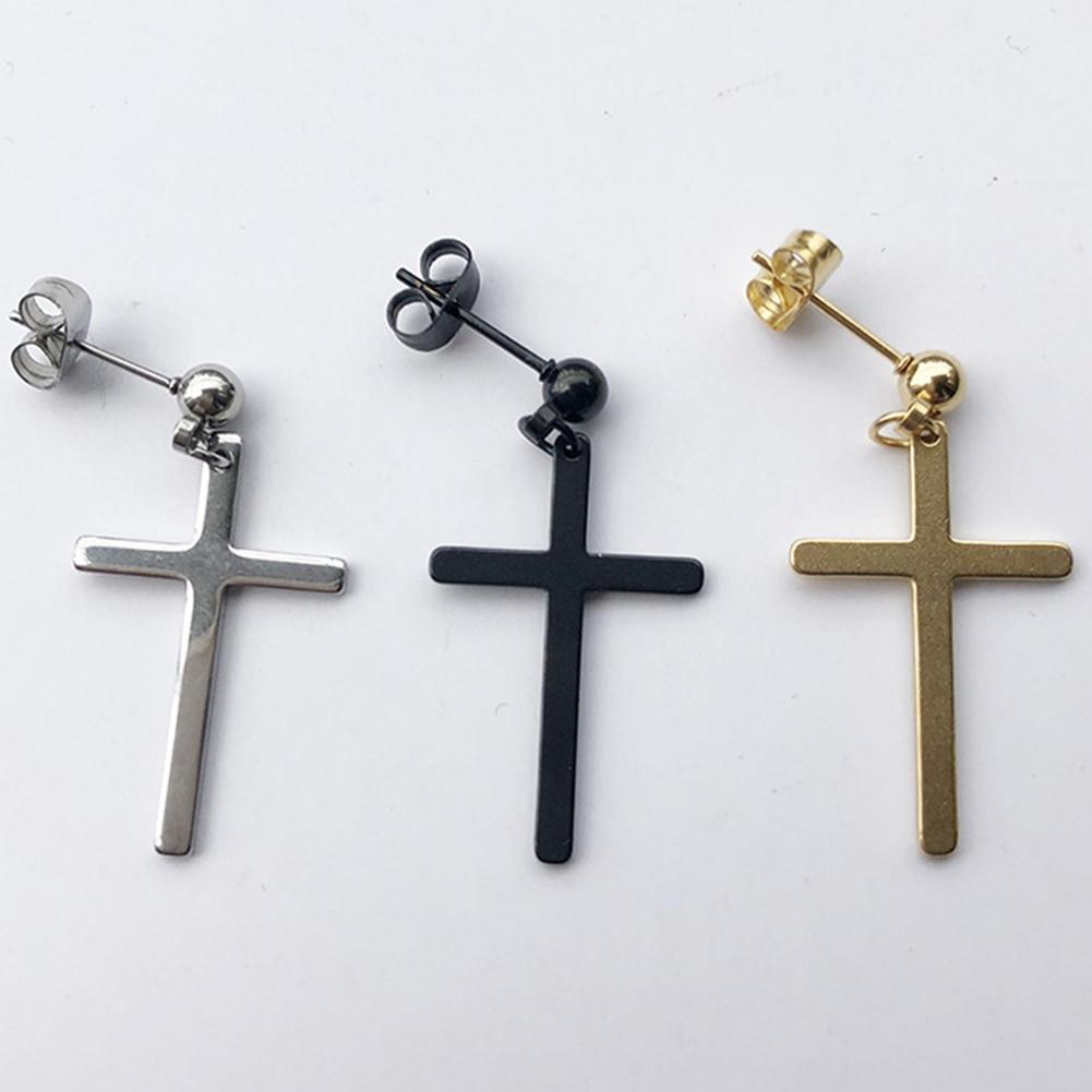 1Pcs Fashion Women Men Black Punk Cross Pendant Cartilage Drop Dangle Earring Hipster Personality Street Rock Earrings Jewelry