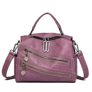 Image 2 - Luksusowy podwójny zamek błyskawiczny torebki damskie torebki projektant marki kobiece torby na ramię Crossbody dla kobiet skóra Sac główna torebka damska
