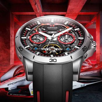 Męskie zegarki mechaniczne Top luksusowej marki mody sportowe świecące zegarki Tourbillon Racing męskie zegarki automatyczne nowy 2021 tanie i dobre opinie POEDAGAR 3Bar CN (pochodzenie) Sprzączka Moda casual Samoczynny naciąg 20cm STAINLESS STEEL Odporna na wstrząsy Kompletny kalendarz