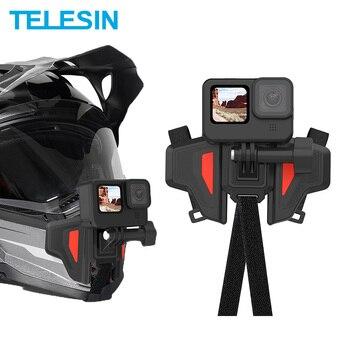 TELESIN-Correa de montaje para casco de motocicleta soporte de barbilla frontal flotante para GoPro Hero 9 8 7 6 5 DJI Osmo Action Insta360 Accesorios