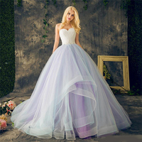 Sweetheart Ball Gowns Purple Plus Size Multi Color Layers Skirt Crystal Beading Lace Organza Bridal Wedding Dress 2018