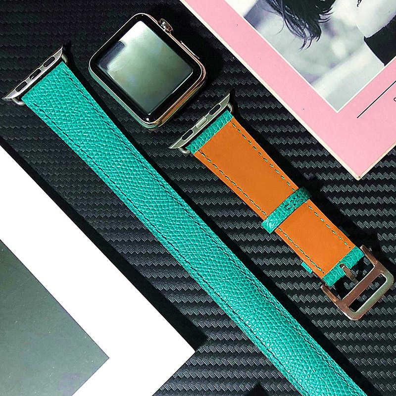 פרה עור כפול סיור רצועת עבור אפל שעון להקת 44mm iwatch צמיד סדרת 5 4 3 2 1 חכם 42mm לולאה 38mm החלפת 40mm