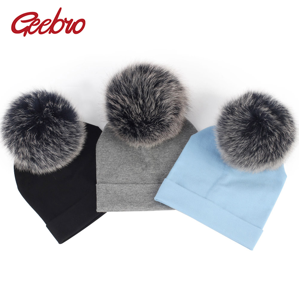Gebro 6-36 Month Newborn Cotton Soft Skullies Beanies Kids With Fox Fur Pompom Hats Baby Girls Boys Solid Color Elastic Caps