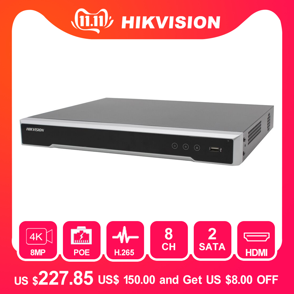 Hikvision 8/16 CH POE NVR DS-7608NI-K2/8P & DS-7616NI-K2/16P Embedded Plug & Play 4K Video Recorder 2 SATA Interfaces 8 POE Port