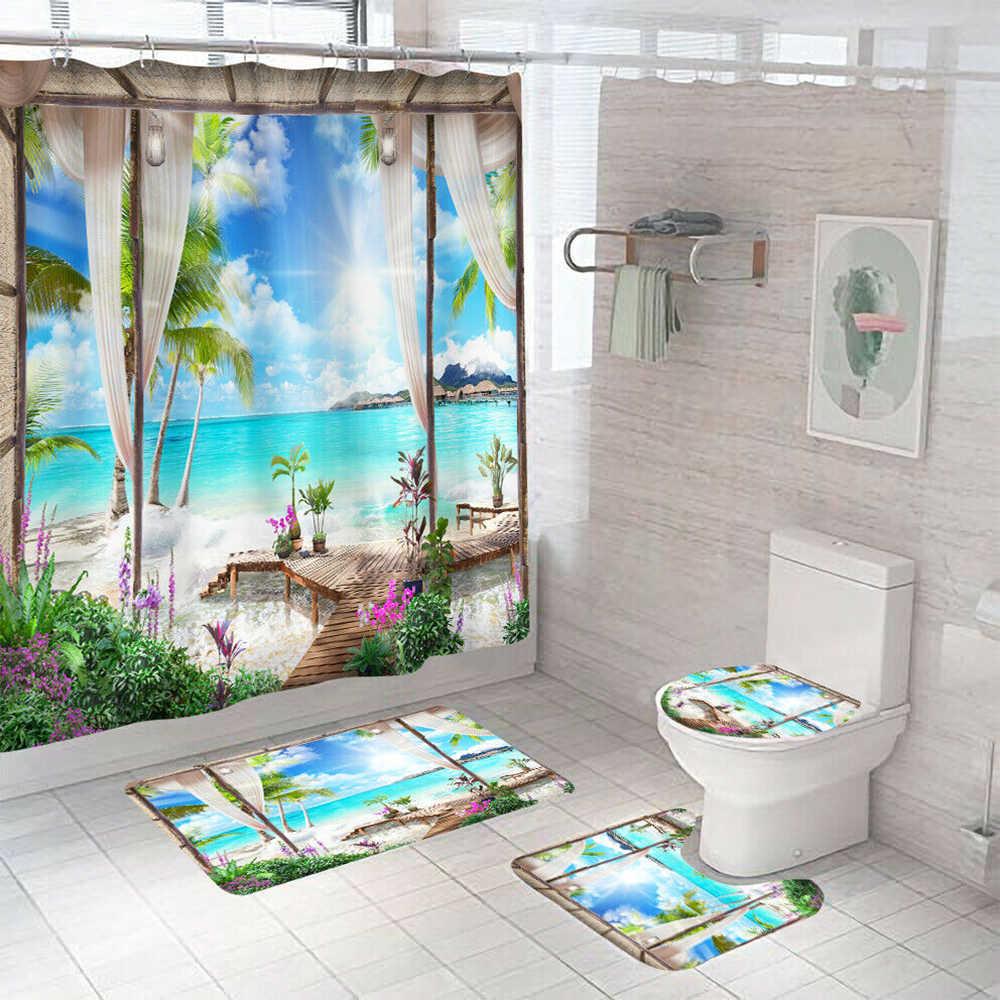4pcs set seaside bathroom rug set shower curtain bath mat non slip toilet lid cover lid toilet cover toilet bathroom