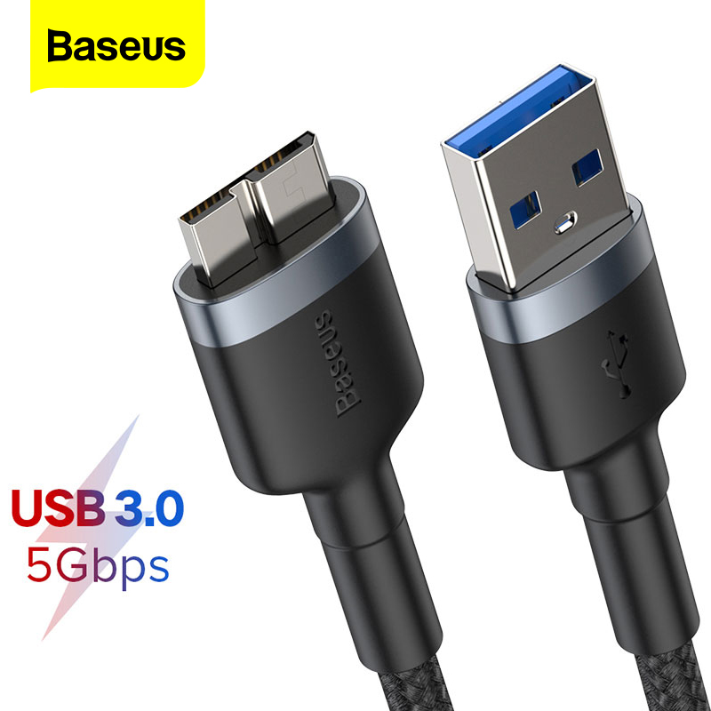 Baseus <font><b>USB</b></font> <font><b>3.0</b></font> To Micro <font><b>B</b></font> Cable 5GB Fast <font><b>USB</b></font> Type A Micro-<font><b>B</b></font> Data Cable for Samsung S5 Note 3 HDD External Hard Drive Disk Cord image