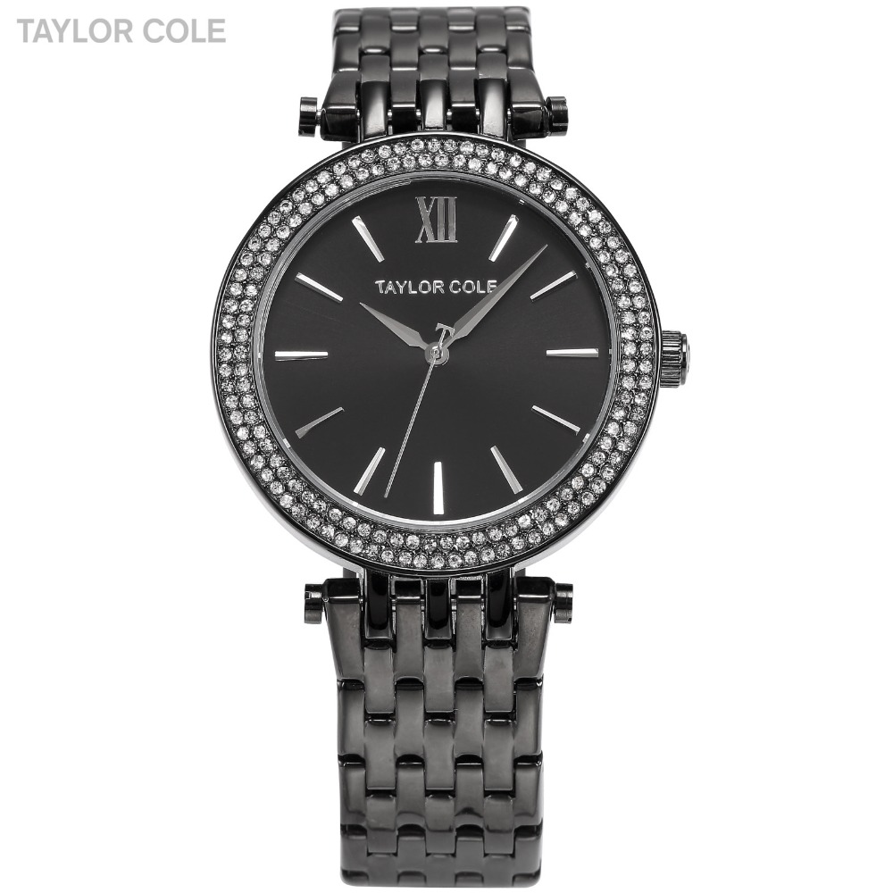 Aglaia TAYLOR COLE Zegarek Damski Rhinestone Crystal Case Black Stainless Steel Strap Women Quartz Dress Watches Relogio /TC004