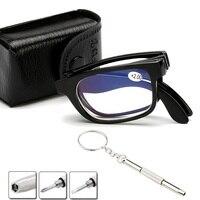 Pliable lunettes de lecture pliant presbytie hommes femmes Vintage ordinateur lunettes de lecture avec étui 1.0 1.5 2.0 2.5 3.0 3.5 4.0