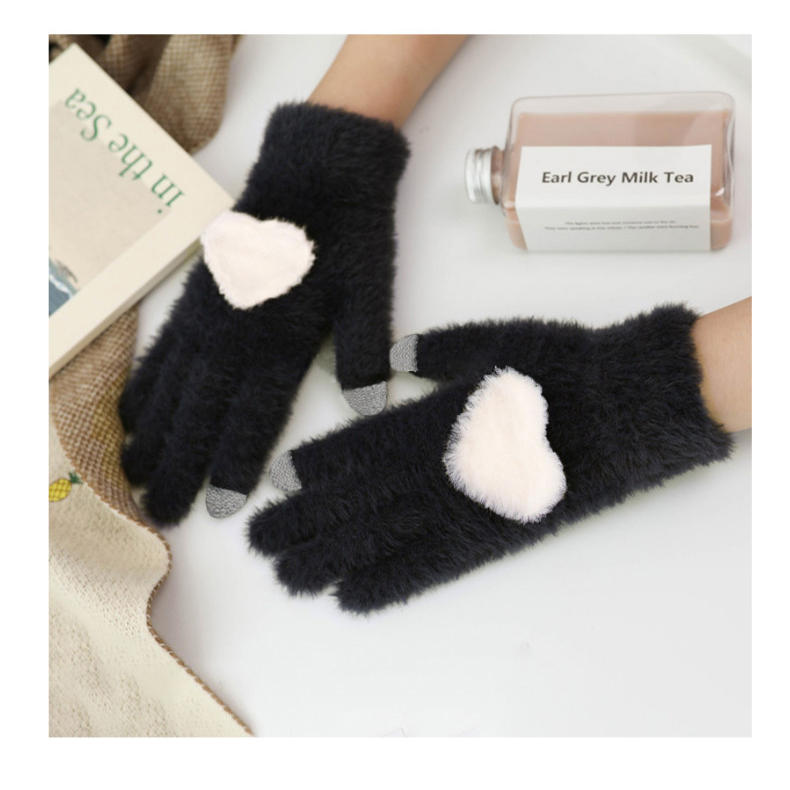 Fashionable and Knitted Touch Screen Gloves for Women Made of Soft Rabbit Wool with Pink Heart Design 14