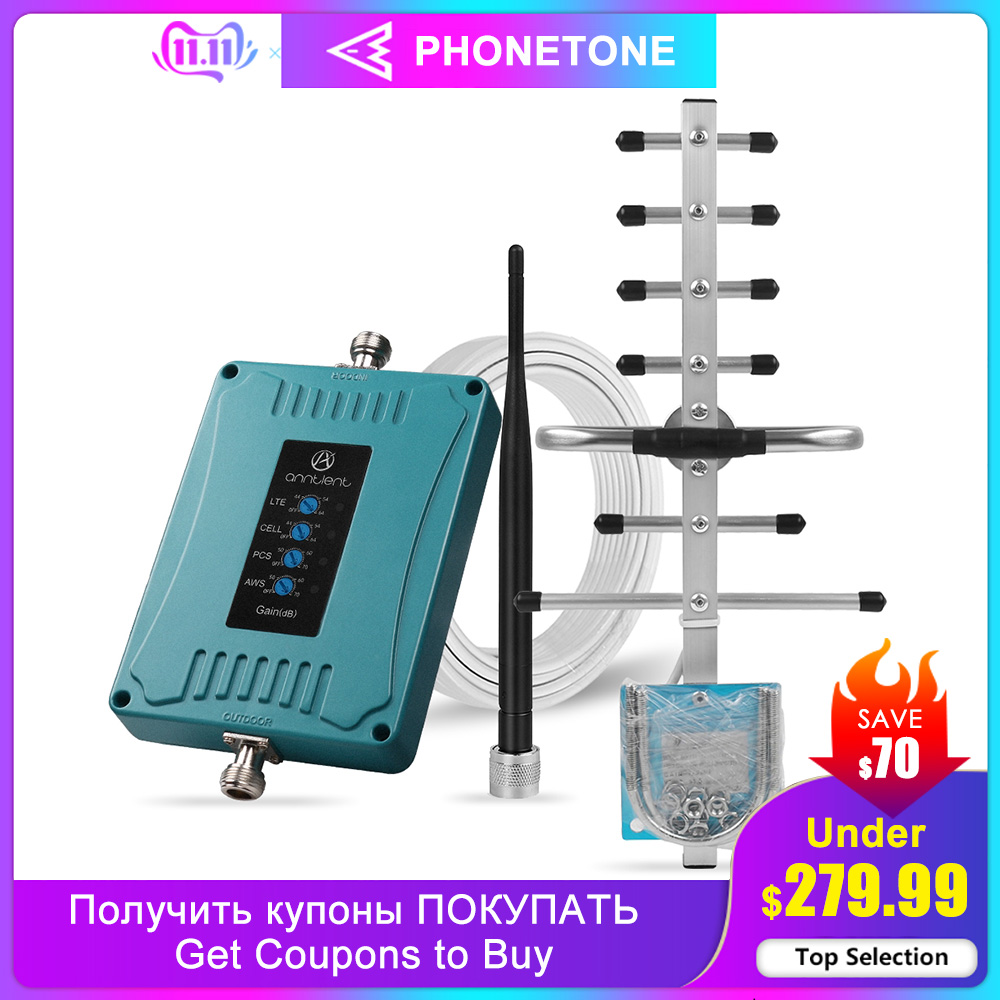 Cell Phone Signal Booster For US/CA 2/4G LTE Cell Phone Signal Booster 850/1700/1900/700/MHz B 5/4/2/12/17/13 Repeater For Voice