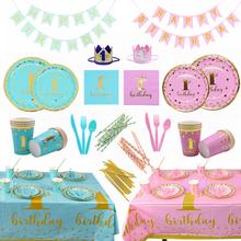Bambino 1st Compleanno Stoviglie Usa E Getta di Colore Rosa Blu Piatto Tazza Tovagliolo di Un Anno Prima Festa Di Compleanno Decorazioni Da Tavola Forniture Baby Shower
