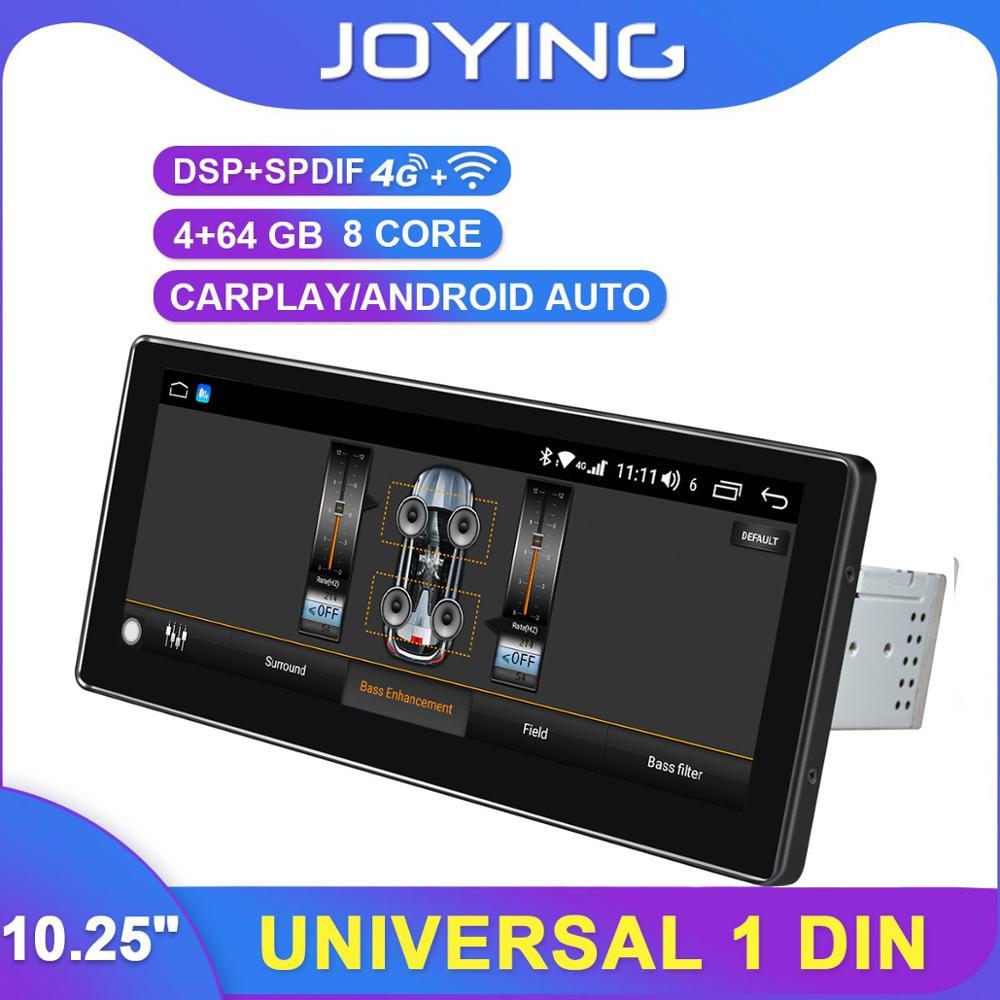 DSP D/émarrage Rapide Android Auto 64GB 10.25 Pouces avec Connexion 4G LTE WiFi SPDIF JOYFORWA Autoradio Android 8.1 Navigateur GPS Simple Din avec 4GB