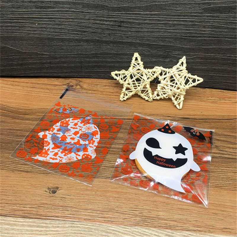 D&P 100pcs 10X10+3cm Multistyle Halloween Cookie Candy Bread Packaging Self-adhesive Plastic Biscuits Snack Baking Package bags