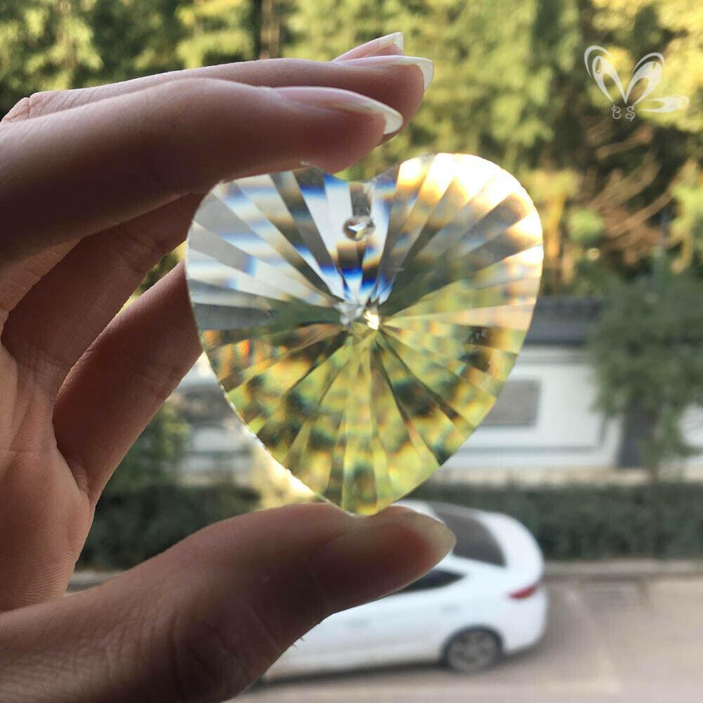 45mm Heart Crystal Prisms Chandelier Part Pendant Suncatcher Glass Art Hanging Home Decor DIY Ornament Faceted