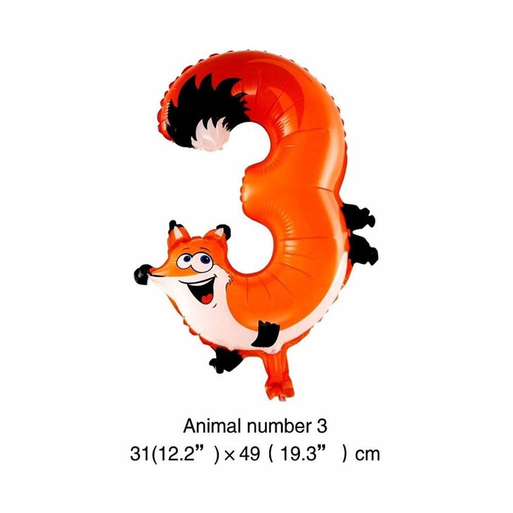 6 дюймов животные мультфильм номер фольги Воздушные шары вечерние шляпы цифры воздушные шарики для день рождения вечерние игрушки для детей - Цвет: WJ106-3