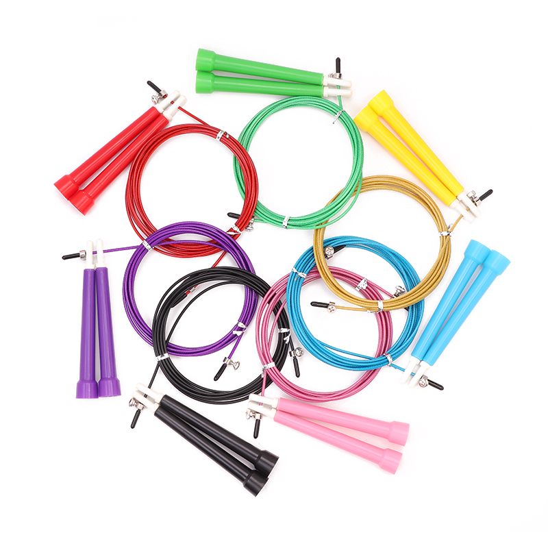 5 Colors Adjustable <font><b>skipping</b></font> <font><b>rope</b></font> 3M Speed Steel Wire <font><b>Skipping</b></font> Jump <font><b>Rope</b></font> <font><b>Crossfit</b></font> <font><b>Crossfit</b></font> MMA Box Gome Gym Fitnesss Equipment image