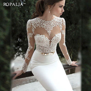 Womens Lace Long Evening Ball  Formal  Party Dress Ladies White Lace Bodycon Backless Long Sleeve Long Dress vestido long sleeves boat neck bodycon womens dress