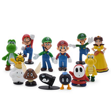 18 Pcs/Lot Anime Super Mario Figure Bros Luigi Princess PVC Action Doll Collectible PVC Toy Model Baby Toy Christmas Gift цена 2017