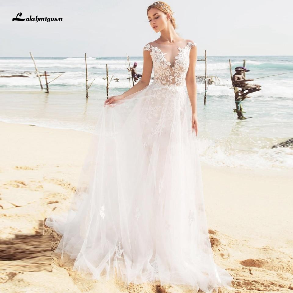 2020 Beach Wedding Dress Sexy Lace Appliques Bridal Dresses Buttons Back Boho Tulle Long Wedding Dresses Suknia Slubna