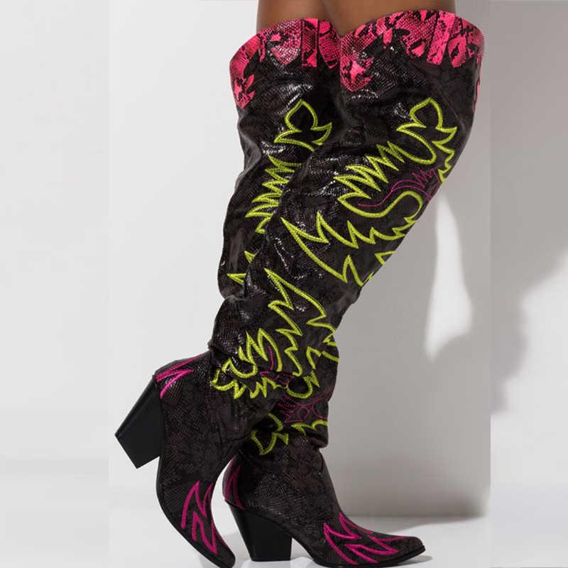 2020 ผู้หญิง Western เข่ารองเท้าบูทสูงปักชี้ Toe Cowgirl ยาวรองเท้าบู๊ตรองเท้าส้นสูงเซ็กซี่ฤดูหนาวรองเท้าผู้หญิงรองเท้า