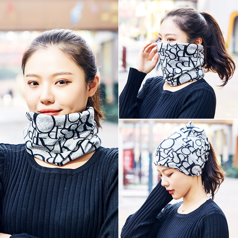 Scarf Women's Winter Scarf Warm Students Autumn & Winter Thin Knit Take Closed-toe Dual Purpose Hundred Pullover Neck Guard Band