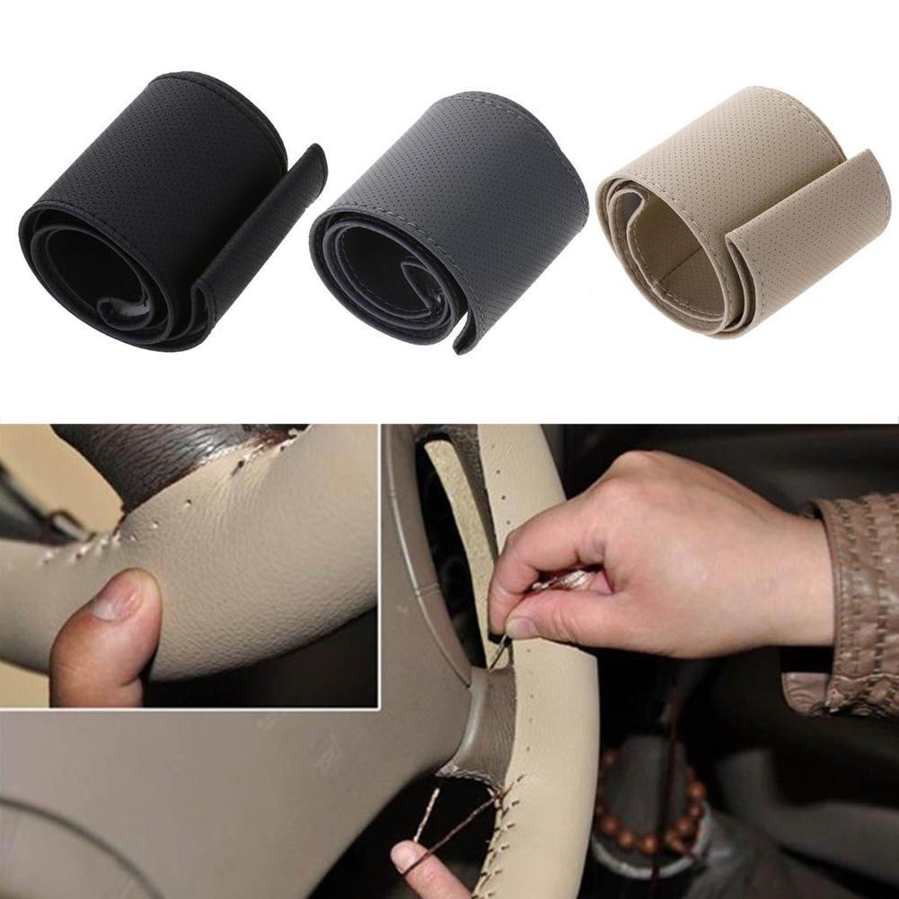 Car Faux Leather Steering Wheel Cover Case Hand Sewing Set Steering Wheel Cover DIY Braid Leather Steering Wheel