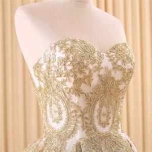 Image 5 - Vestido de noiva real photo Luxe EEN Lijn Geborduurde Goud Applique Kralen Sweetheart bridal gown moeder van de bruid jurken