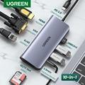 UGREEN usb-хаб C концентратор HDMI адаптер 10 в 1 USB C к USB 3,0 док-станция для MacBook Pro Аксессуары USB-C Тип C 3,1 Разветвитель USB C концентратор
