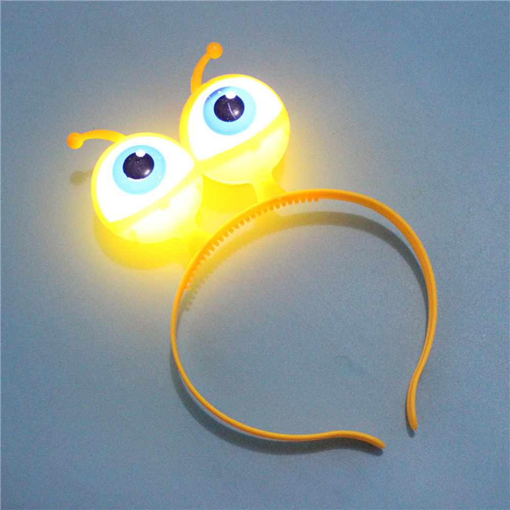 Kids LED Light Luminous Headband Halloween Christmas Vocal Concert Supplies Aliens Eyes Head Hair Hoop Band Party Decoration Toy