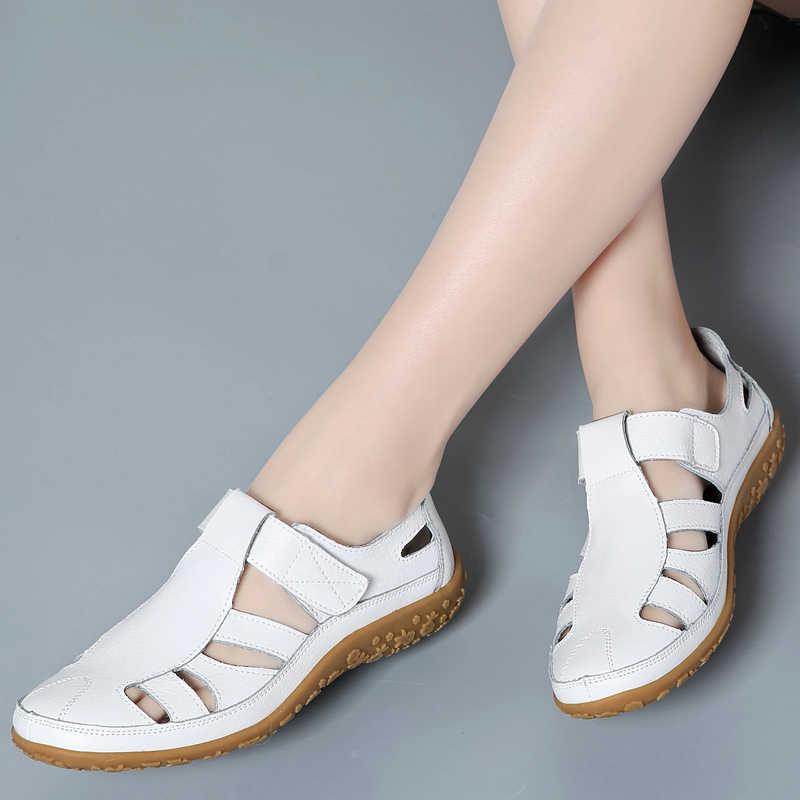 Giày Sandal Nữ Da Thật Chính Hãng Da Mùa Hè 2020 Nữ Thoải Mái Mũi Tròn Mắt Cá Chân Rỗng Giày Xăng Đan Nữ Đế Mềm Giày Sandal Người Phụ Nữ 9568